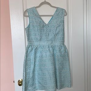 Honey blue and white dress